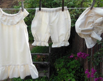 Sweet Summer Nightgown Set Bloomers Mob Cap Toddler 2T-5T Custom made