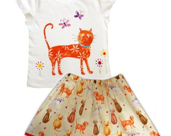 Girls Cat Skirt and Tee Shirt /  Children's Top / Kids Tshirt / Baby Clothes
