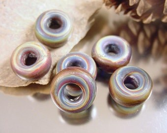 Lampwork glass bead set, Artisan glass bead, big hole beads, blue beads, purple beads, disc beads, glass rings, SRA handmade beads