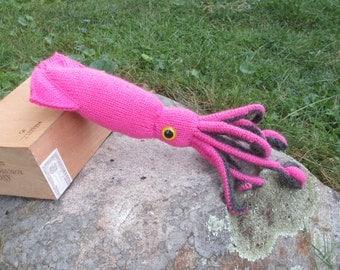 Stuffed Animal Giant Squid, Pink Plush Squid, handmade fiber art sculpture, stuffed giant squid
