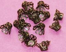 50 pcs of  antique brass bell flower filigree beadcap 8mm, antique bronze  flower beadcap
