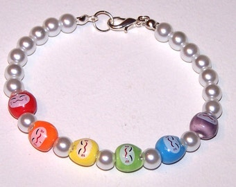 pearly rainbow kittyface bracelet