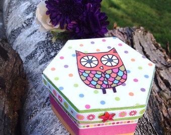 OWL Trinket Box - Tooth Fairy Box - Personalized Children's Storage, Unique Gift, Children's room decor, cute storage, Owl Decor