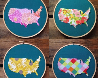 Ready to ship! America fabric hoop