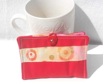 Tea Wallet, Fabric Wallet, Business Card Holder, Small Wallet Red with Batik Print Stripe Wallet