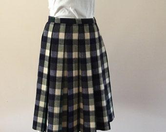 Blue Plaid Skirt pleated wool vintage 1960s Mad Men style sz M