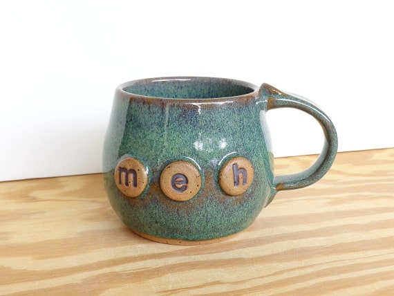 Sea Mist Pottery Coffee Cup - Stoneware Ceramic Mug - meh