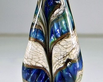 Glass Lampwork Focal Bead  Antique Ivory Blue Goldstone