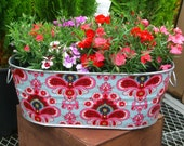 NEW French Wallpaper X-Large Oval Galvanized Metal Garden Planter Tub