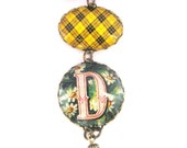 "Scottish Tartan Jewelry - Ancient Romance Series- MacLeod of Lewis Clan Tartan Bow Brooch with Victorian Initial ""D"" Fob Charm"