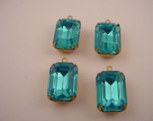 4 Vintage Glass Blue Topaz    brass   setting Prong  Octagon  closed Back Drop Charms  16x11 1 ring