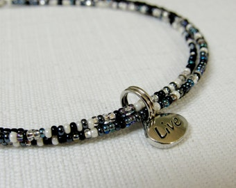 Multi-strand Beaded Anklet in Black, White and Silver with Sentiment Charm - You Pick