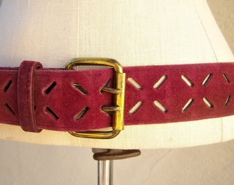 70s suede belt / burgundy boho leather belt / cranberry cut out belt / authentic chunky hippie belt unisex / 38 inches