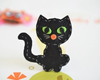 New! Set of 6pcs handmade Halloween Cat--black (FT1037)