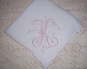 Vintage White Wedding Hanky With a Pink Initial K - Handkerchief Hankie
