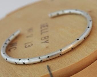 Dotted Sterling Silver Stacking Cuff Bracelet - Everyday Bracelet - Dots - Dotted Bracelet - Polka Dots - Free Shipping - Gift for Her