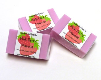 Pink Berry Mimosa Handmade Goat's Milk Soap Mini GUEST BAR - Great for Party Favors