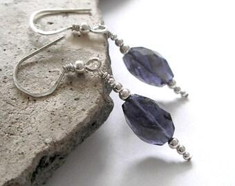 Blue Iolite Earrings- September Birthstone- Boho Sterling Silver Water Sapphire Handmade Popular Trending Jewelry For Women