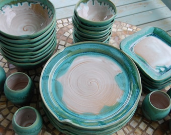 Eclectic Dinnerware Set of 4 Place Settings in Turquoise and White - Made to Order