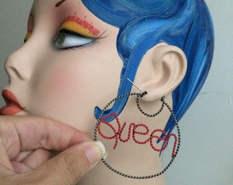 QUEEN twisted hoop round wire knocker nyc style ghetto hood classic letter doll matel red painted ooak piece on a gold tone earring door