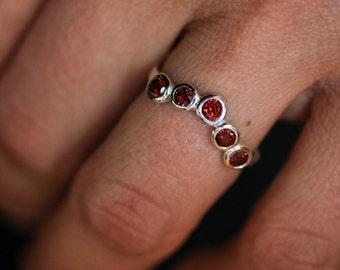 Size 8 Garnet Ring, 5 Stone Ring,  Five Stone Ring, Anniversary band, Silver Band,  Alternative Wedding Band, Gemstone Wedding Band