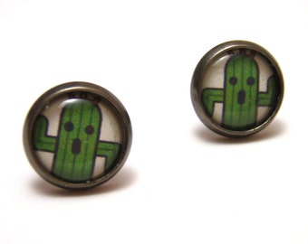 Cactuar Studs - Final Fantasy - Small green cactus post earrings SMALL - Geek Chic Gamer