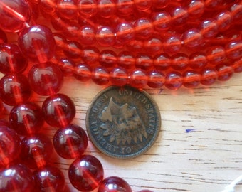 24 Vintage Beautiful Deep RED 5mm Glass Beads C36