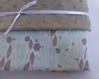 Large Minky Blanket -Breezy Floral Turquoise - Minky lined cotton baby blanket