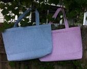 Monogrammed Seersucker Tote Bag