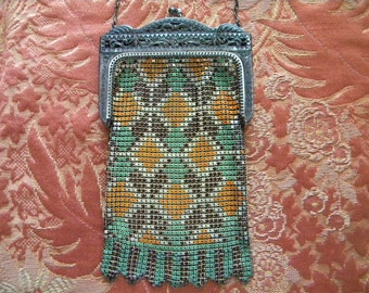 Antique 1920's Flapper Purse Enamel Mesh with Orange Brown and Green Design