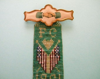 Antique 1901 Fraternal Pin with Celluloid Handshake Pin and Beaded Folk Art Ribbon