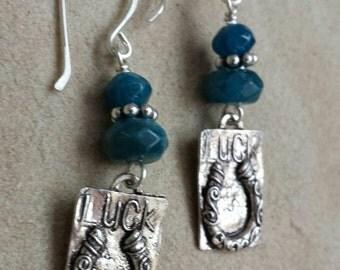 Sterling Silver LUCK Horseshoe Earrings - Blue Apatite Earrings - Rustic Jewelry - Southwestern Earrings - Western Cowgirl Jewelry