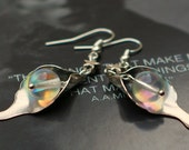 Flower Earrings - Silver Calla Lilies with Rainbow Dewdrops and Miniscule Stars