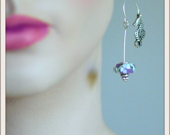 Seahorse Earrings -  Hovering over Lilac & White Flowers - Handmade Glass Beads