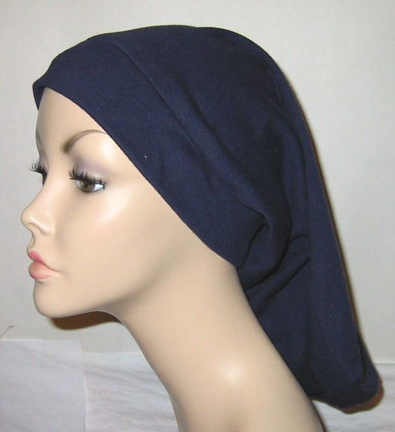 Tichel, Womens Long Navy Snood, Modest Head Cover, Chemo Hat