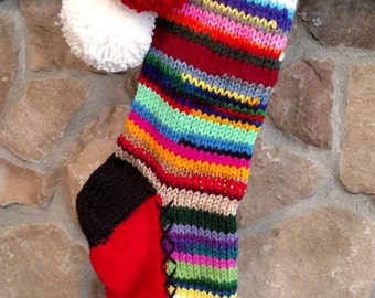 Old Fashioned Hand Knit Christmas Stocking Personalized  MOM Hearts Stripes Rag Series
