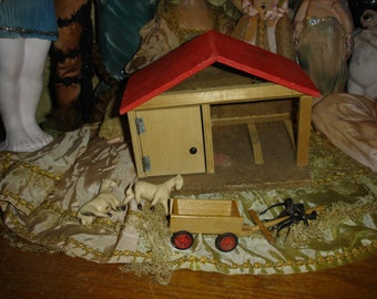 Vintage Miniature Wood Dollhouse Horse Stable and Cart