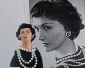 Fashion Designer Coco Chanel Historical Doll Miniature Art
