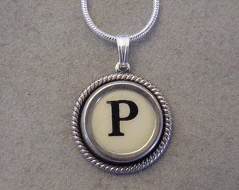 Typewriter key jewelry necklace CREAM  LETTER P  Typewriter Key Necklace Initial Necklace P