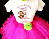 Monkey Love Hot Pink Green 1st First Girl Birthday Tutu Outfit Custom Personalized Name Age Party Shirt Set