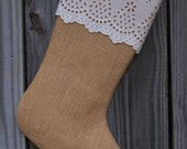 Burlap Stocking Christmas Fun Eyelet Lace Farmhouse Shabby Rustic Personalized  201