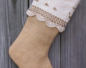 Burlap Christmas Stockings Crochet Cotton Cutwork Lace Country French Farmhouse Chic Personalized Ivory 223