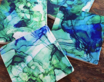 Ocean Blues - stone coasters (set of 4)