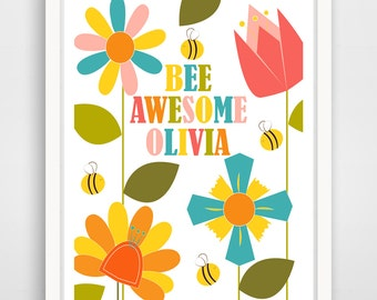 Personalized Kids Wall Art Print, Nursery Art, Children Wall Art. Bee Awesome with Child's Name... print by Finny and Zook