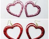 Clear Glitter Heart Earrings
