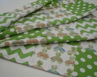 Long Neck Turtles with Green Chevron and Polkas Minky Baby Blanket 31 x 36 READY TO SHIP On Sale