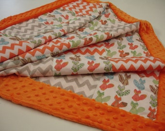 Furry Fox with Orange and Gray Zig Zag Chevron Minky Baby Crib Blanket  30 x 43 READY TO SHIP On Sale