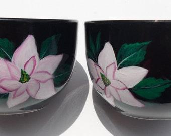 Painted Magnolia Cups Hand Painted Magnolia Mugs Set of 2