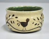 Handmade Pottery Bowl Small Green Brown Cream Ceramic Bird Tea Bowl Sgraffito Birds by Bonnie Stowe Pottery