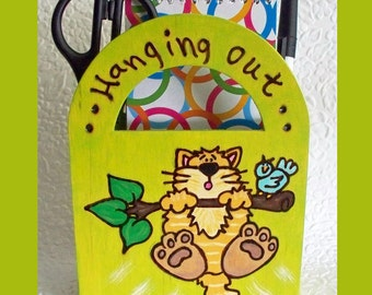 Magnetic Fridge Cat Memo Caddy with Note Pad Pen and Scissors